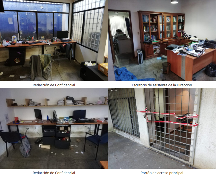 The offices of Confidencial were raided by the National Police on Dec. 13.  [Screenshot from Confidencial]
