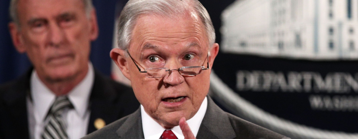 Then-Atty. Gen. Jeff Sessions at an Aug. 4, 2017, briefing on national-security leaks.  [Photo: Alex Wong / Getty Images.]