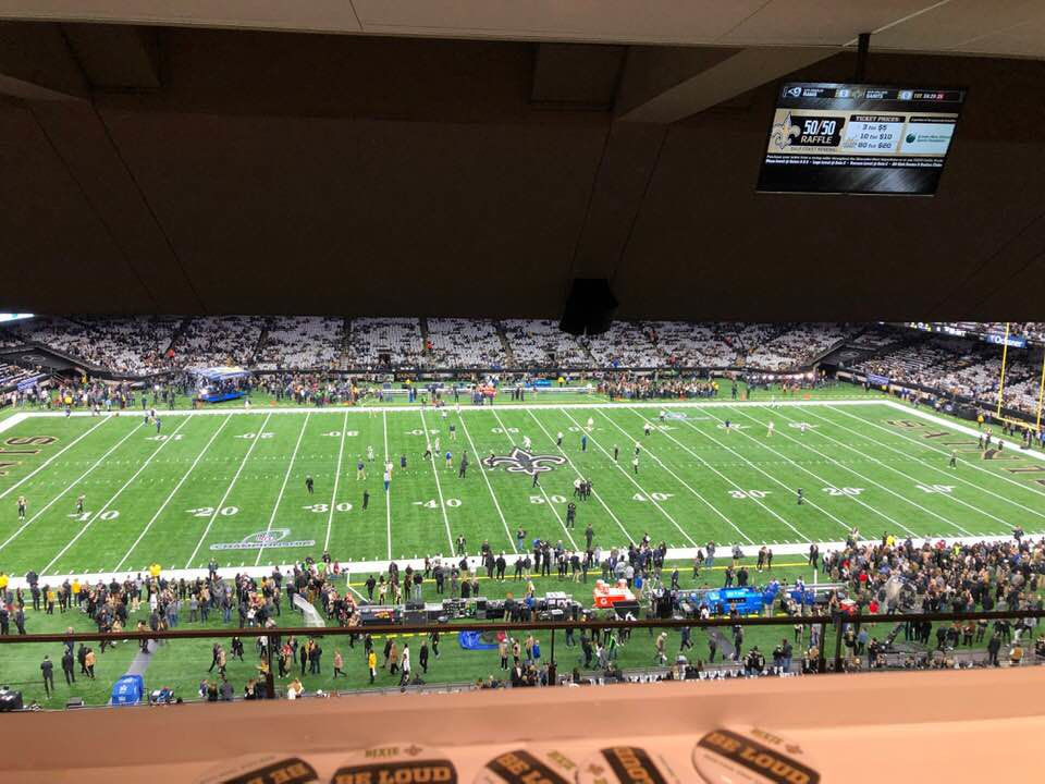 The field, as seen from a guest suite at the Mercedes-Benz Superdome in New Orleans, Sunday Jan. 13, 2019 before the NFL football NFC championship game between the New Orleans Saints and the Los Angeles Rams.  [From Facebook]