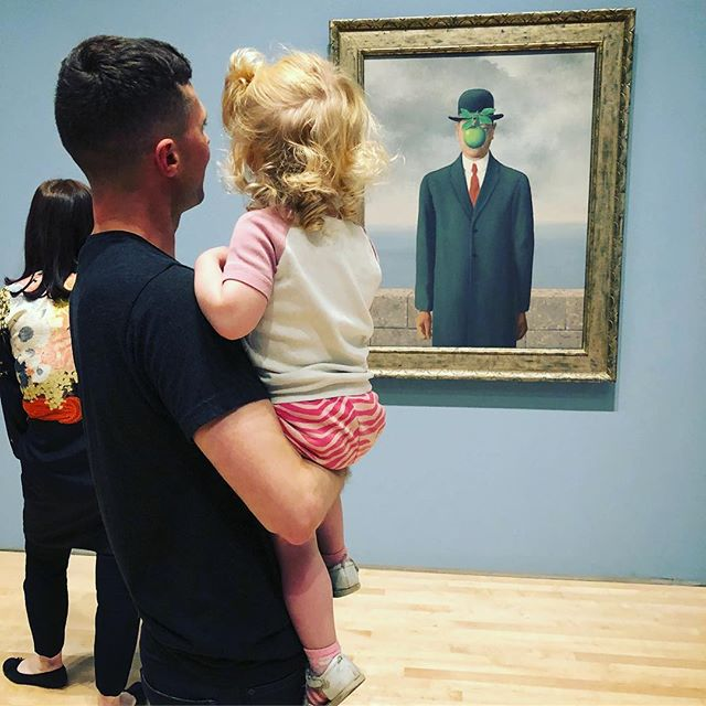 "A sweet visit to the #magritte show at SFMOMA with Chase. She spotted so many of her new words: ""moon,"" ""bird,"" ""tree,"" ""big green apple."" (My favorite was ""Hypertrophy"" 😉👨‍🎨🍏) At the end she demanded that she and @ephduke try on bowler hats. ceci n'est pas une #latergram"