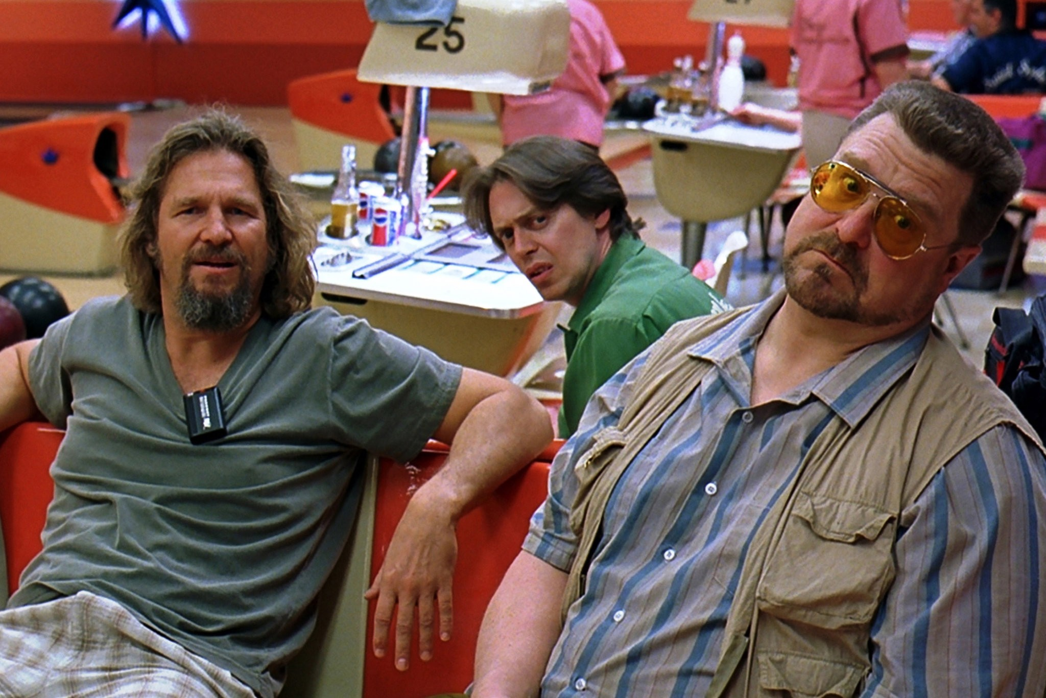 "Jeff Bridges as The Dude, left, hanging out at the bowling alley with his buddies Walter (John Goodman) and Donny (Steve Buscemi) in ""The Big Lebowski.""CreditCreditUniversal Studios and the Library of Congress, via Associated Press"