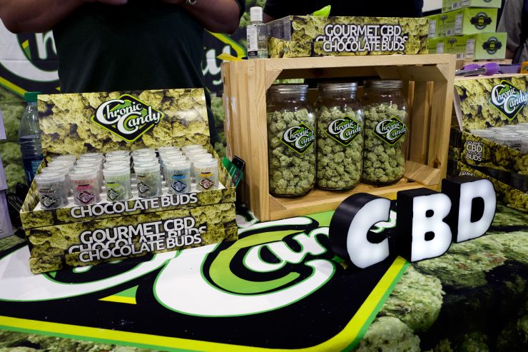 CBD buds of chocolate by Chronic Candy are displayed at the Big Industry Show at the Los Angeles Convention Center, Aug. 31, 2018