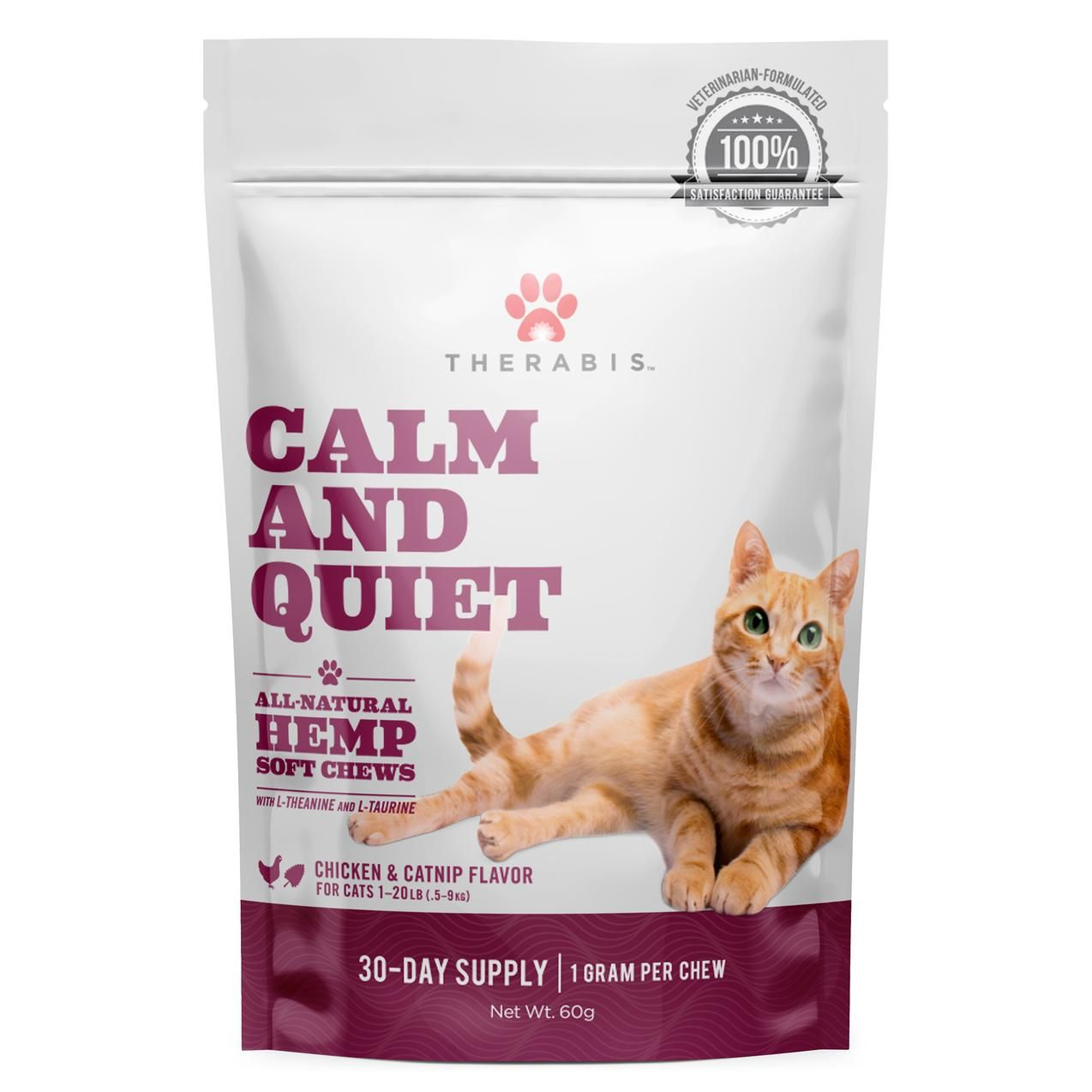 Therabis Calm and Quiet cat treats say they 'help cats maintain a calm demeanor in apprehensive situations' with one milligram of CBD per soft chew. PHOTO: THERABIS
