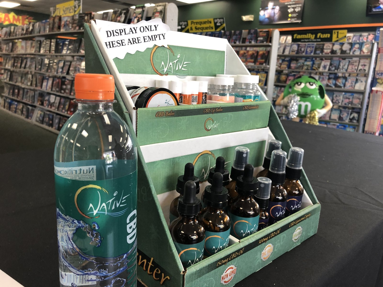 A display shows some of the CBD products for sale at Family Video.  Liam Niemeyer/Ohio Valley ReSource