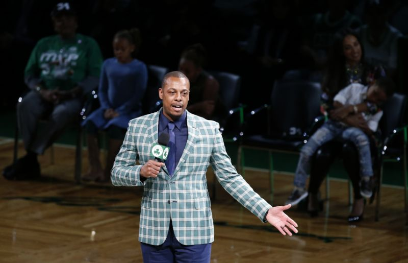 Former Boston Celtics Paul Pierce address the crowd during a ceremony to retire his number following an NBA basketball game against the Cleveland Cavaliers in Boston, Sunday, Feb. 11, 2018. (AP Photo/Michael Dwyer)