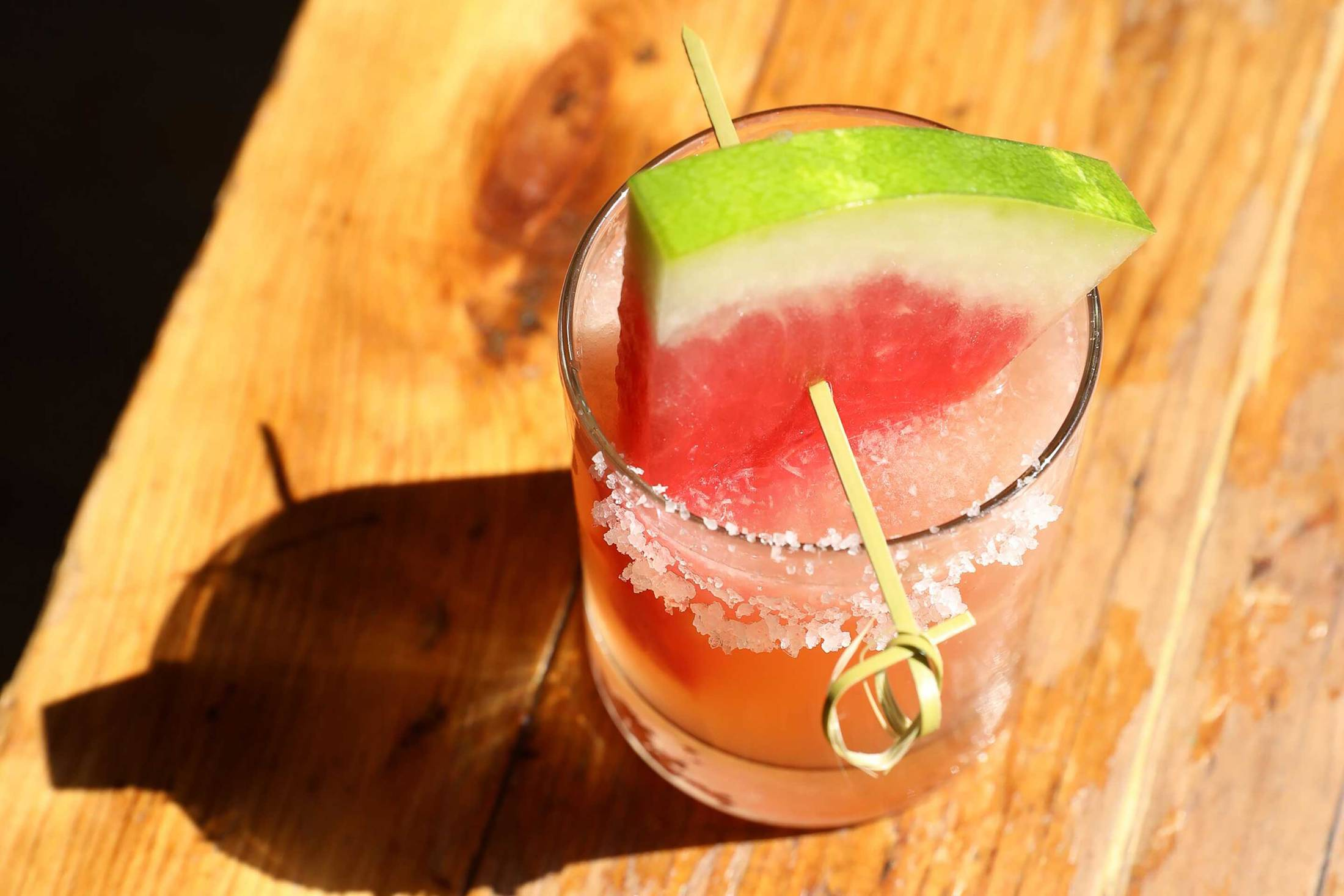 Watermelon margarita with Azuca hemp infused syrup at Bubby's.  Courtesy of Alexander Stein