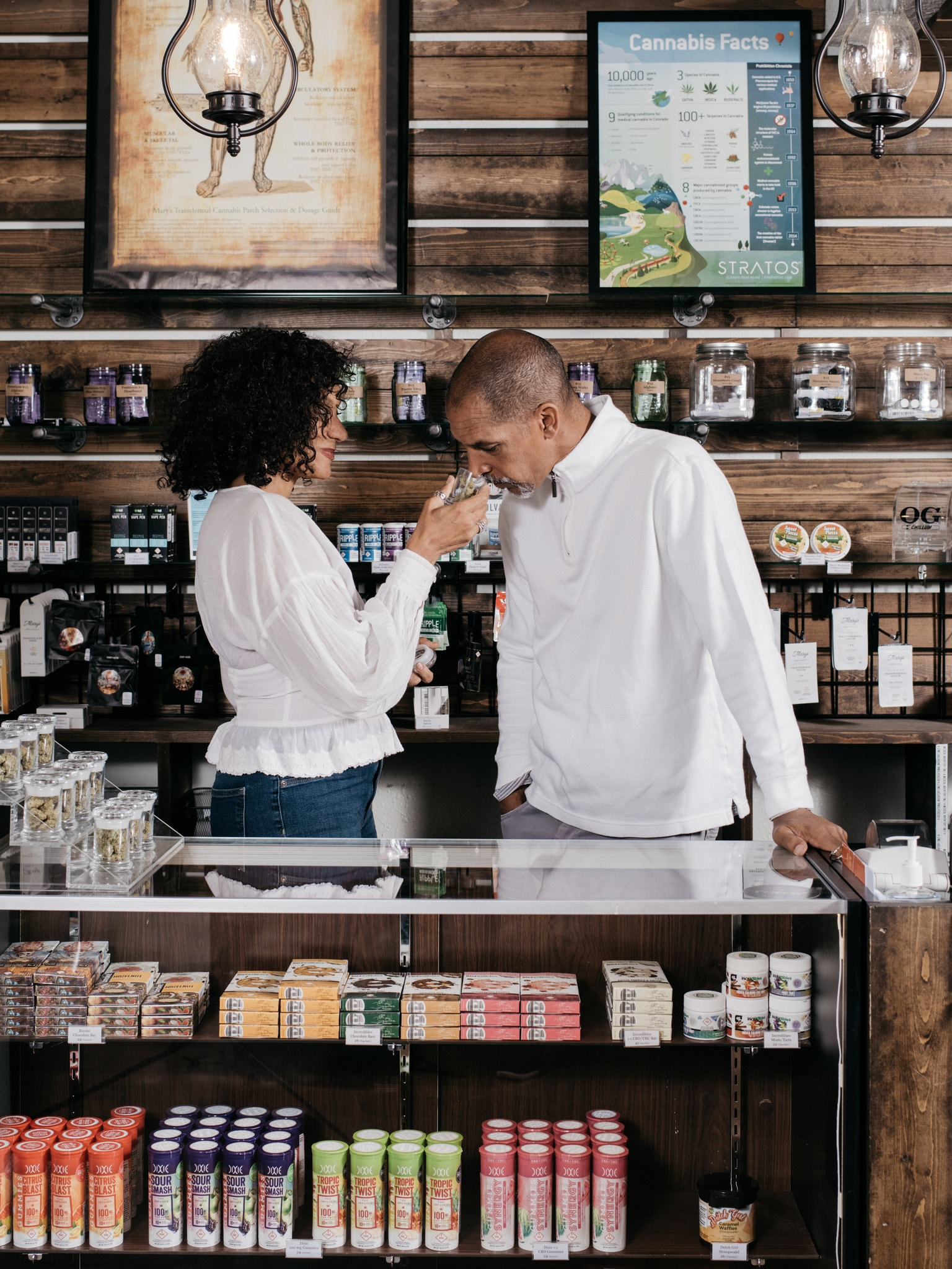 Wanda James and Scott Durrah, who became the first African-Americans to obtain a license to sell marijuana in America, at their dispensary, Simply Pure, in Denver.CreditBenjamin Rasmussen for The New York Times