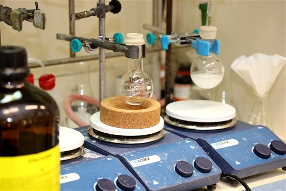 Materials used to stabilize CBD being heated up at Raphael Mechoulam's Hebrew University lab in Israel.Daniel Fine / EPM