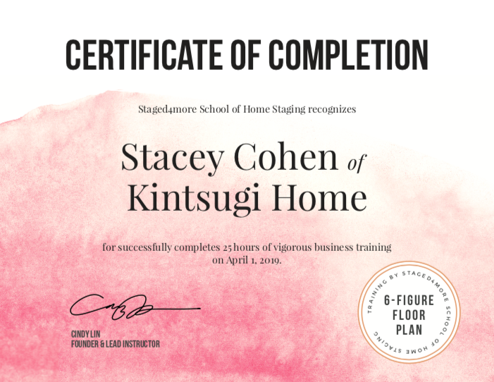 When you completed the course - You can download a logo badge for your marketing materials and your website. You will also have a choice to receive a Certificate of Completion.Here is an example of Stacey's, one of our students from the 8-week live mastermind program, for completing 25 hours of business training (15 hours for our self-study course students).You will also get access to alumni perks, including VIP discounts on upcoming courses.