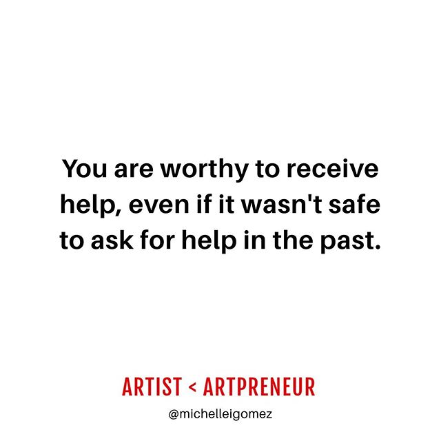 "💯Tag a woman identifying photographer, painter/maker, or curator who is worthy of receiving help this week👇🏽. . 💯Growing up with co-dependent addictive narcissistic caregivers who hated men...dating emotionally unavailable men who stonewalled me...being friends with ppl who just dumped/took or used me for professional arts advice taught me that love was conditional. . 💯I never knew how to ask for help, because I was the ""old soul"" who had it all figured out (aka traumatized lol). . 💯I was the girl who had her shit together as the educated golden child who would save everyone with a fancy arts degree. I was emotionally neglected, and only given attention when I was the family coach, or literally begged for it via my art or asking to please just listen to only be met with more emotional abuse or gaslighting. . 💯This continued for so long until I finally came out to my mother saying I have depression and have dealt with suicidal ideation to only be yelled at about her subpoena. On my bday. . 💯I remember art school being my escape. I remember going to my 1st therapist who asked me ""What brings you here today?"" That's when I began a photo series called ""Conversations with my therapist"" that changed my discourse forever, and lead me to y I do what I do today as a coach for women identifying artists. . 💯 It's taken tons of therapy and $50k+ of coaching to cope, undo, and move fwd while uplifting my fellow women artists who have been abused to learn how to ask and receive ♥️ w♥️. . ♥️ I patted myself on the back today knowing that I finally took my coach's advice to scale with the help of 3 virtual assistants + event planner who are so professional and on top of it all, in addition to saying yes to my neighbor who asked me if I needed help post surgery, my coach girlfriend who checks in via text after a wine night, and two best girlfriends who have been there since before my spiritual awakening. Those 2 check in, and coach my ass too to ensure I'm not hiding under my workaholic rock pretending to be a miss independent woman who don't need no 🍆. . ♥️ It's ok to ask for help. I'm worthy of a great team, friends, and partner. You are too. #artisttoartpreneur"