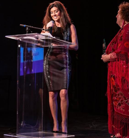 Receiving IGNITE Shero award at Spring gala 2019. (PRESENTED BY IGNITE WORLDWIDE CEO & FOUNDER CATHI RODGVELLER.)