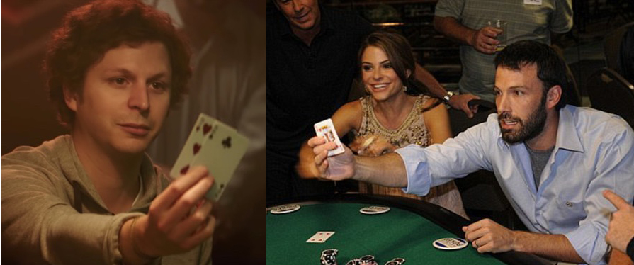 Left, Michael Cera playing Player X. Right, Ben Affleck playing poker. Coincidence?