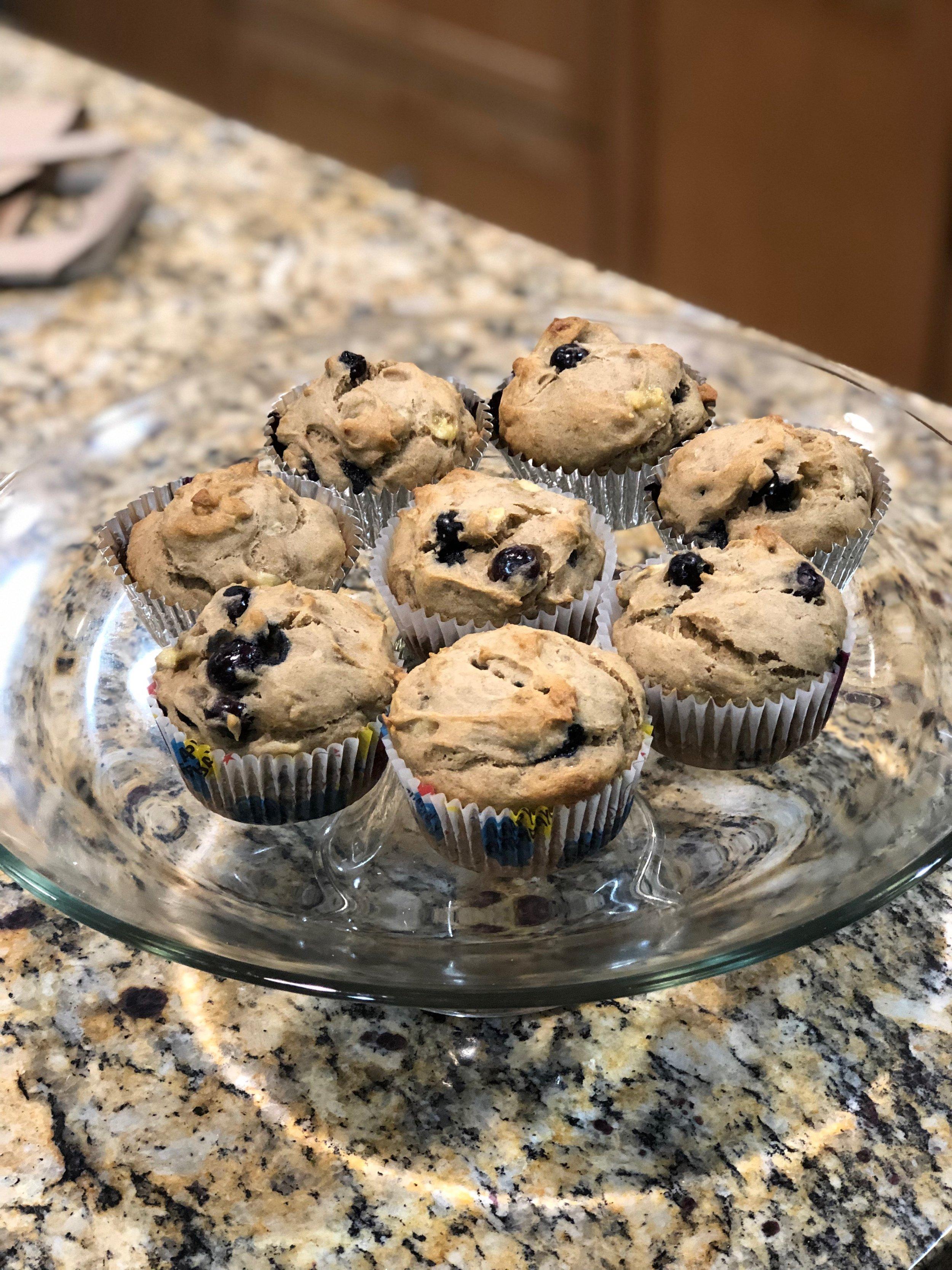 Blueberry Banana Breakfast Muffins (Gluten Free, Egg Free, Dairy Free)
