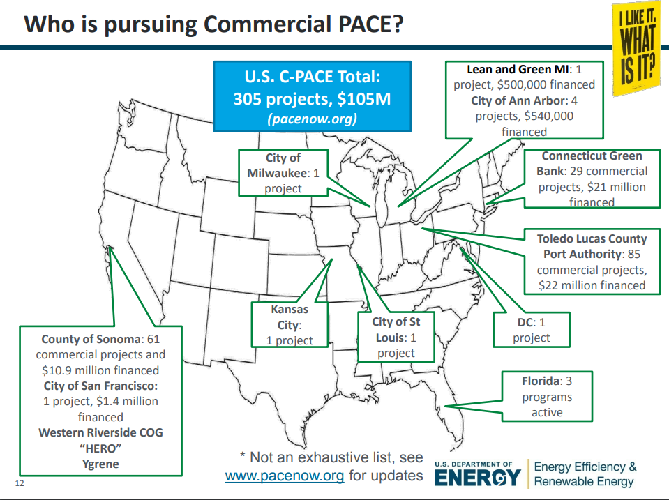 Graphic of commercial PACE (C-PACE) projects in the US (Source: US Department of Energy, using data from PACENation)   [7]