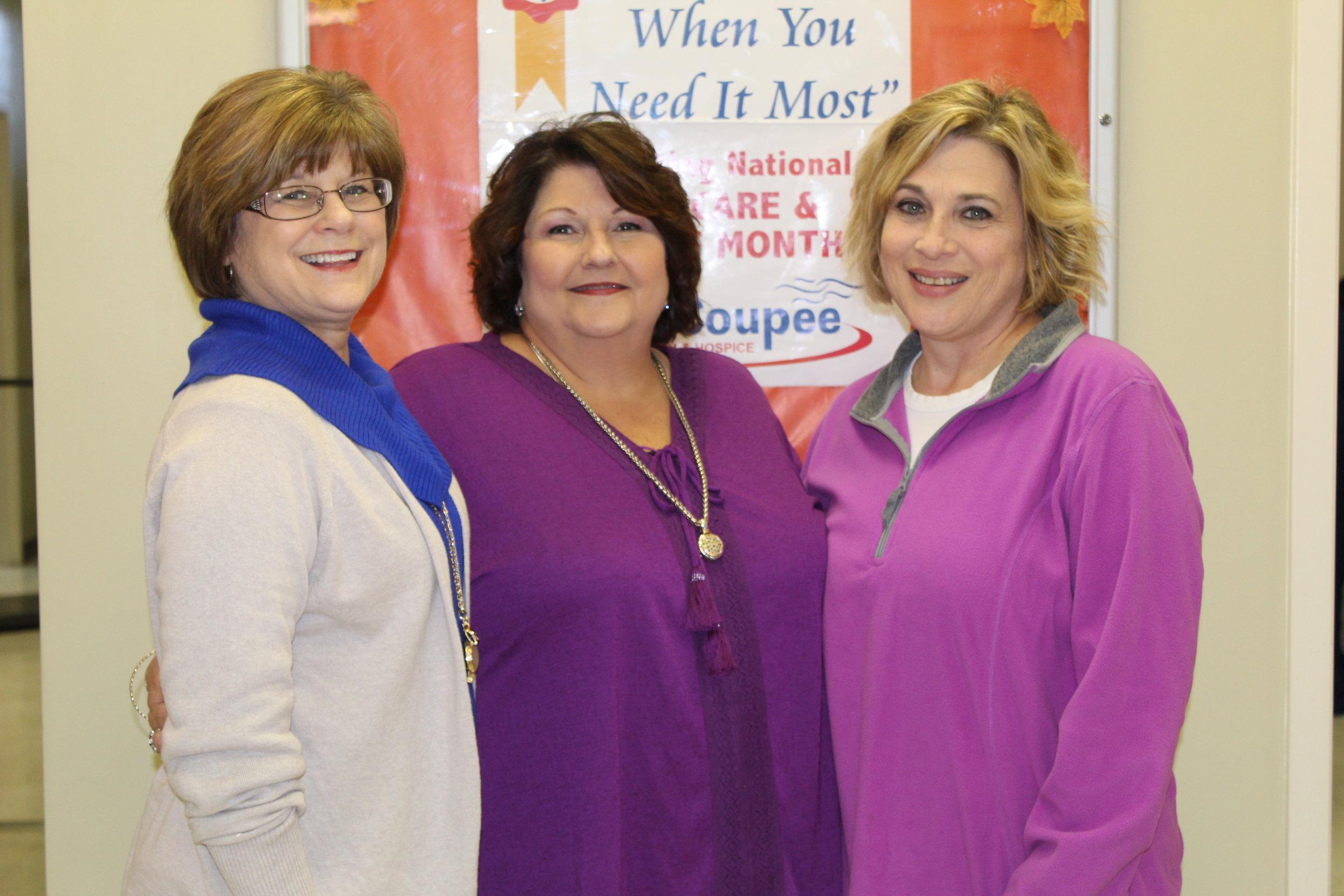 Brenda Goode, Jeanine Thibodeaux, and Dana Purpera