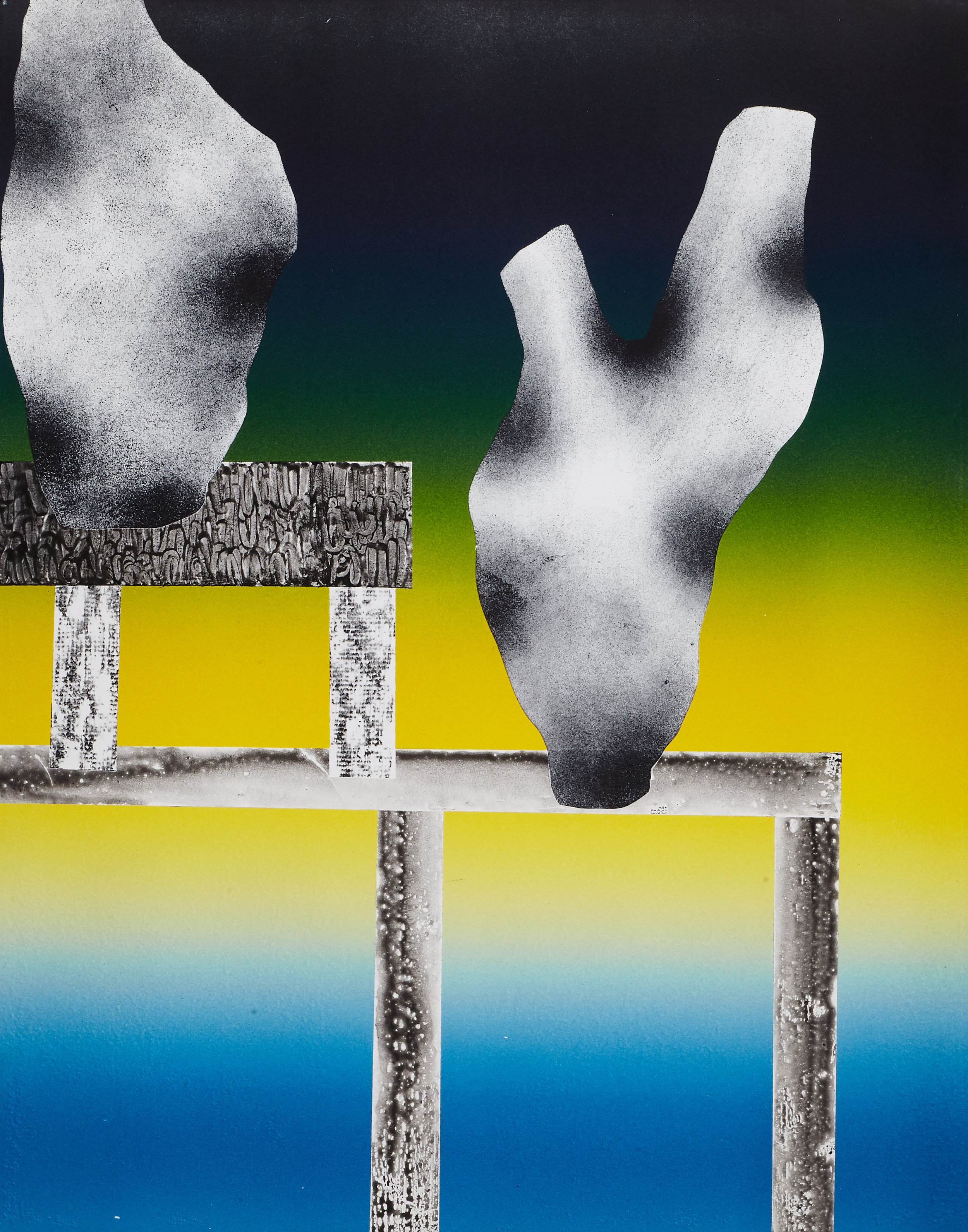 "Two Vase    17""x20"", Monoprint. 2017"