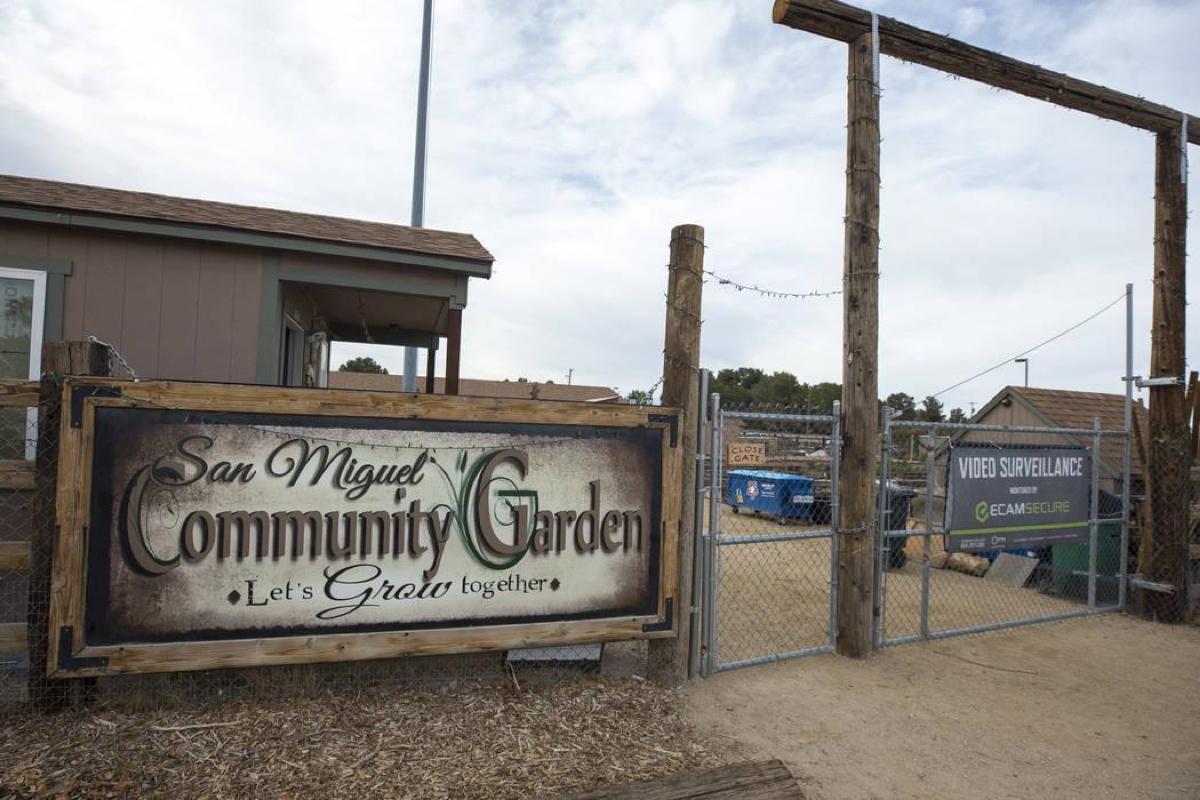 The entrance to the San Miguel Community Garden located at 3939 Bradley Road in Las Vegas on Saturday, Jan. 12, 2019. Richard Brian Las Vegas Review-Journal @vegasphotograph