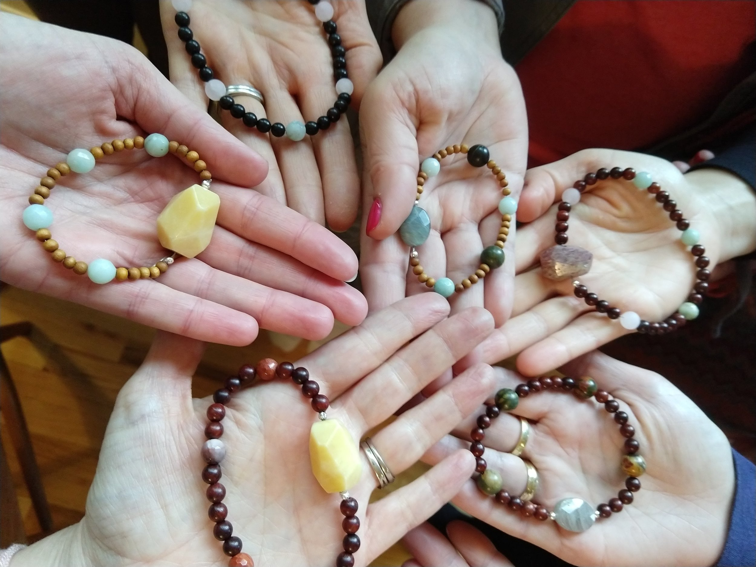 Participants in my Meditation Beads Workshop show their creations.