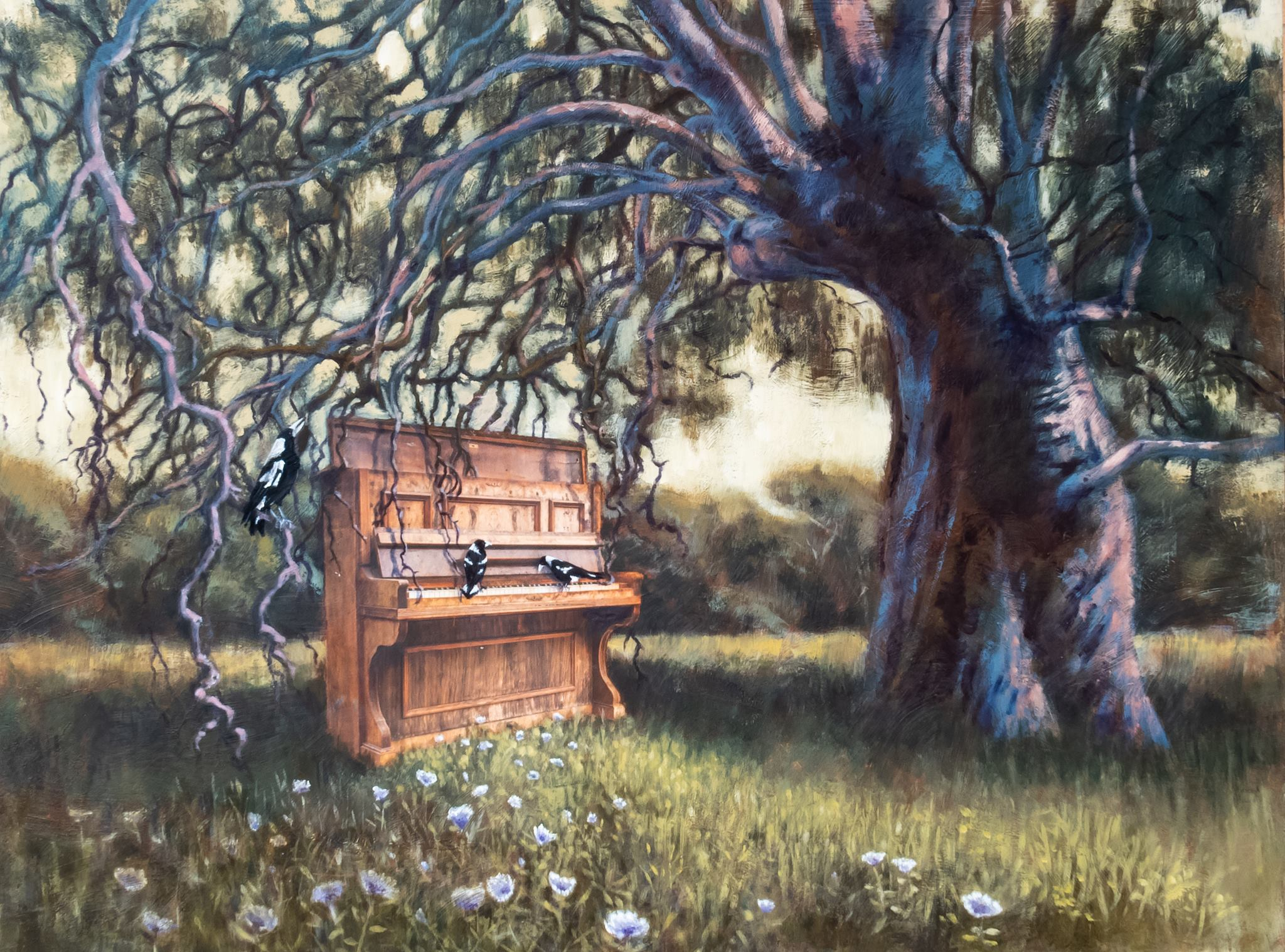 'Catching The Song' , a collaborative work by Malinda Jenner, Oliver Gerhart and Jan Burns for the Catching The Song exhibition, September 2018 at the North Adelaide Community Centre. The exhibition was in part inspired by the Murray Bridge Piano Sanctuary.