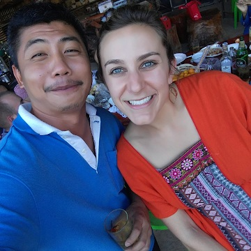 Donning the orange shirt at Pee Yao's barbecue in Phu Sang, with one of my fellow teachers!
