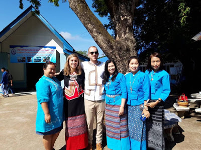 David and I with 4/6 of the esteemed Piggy Gang members on the day of the Buddhist ceremony at our school.