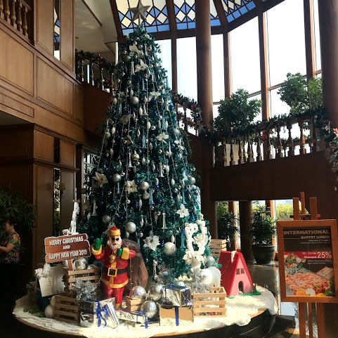 One of the Christmas trees in the Prince Palace hotel in Bangkok.