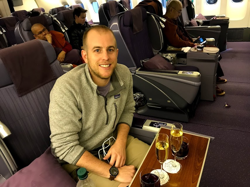 The final leg of the trip to Bangkok via Thai Airways. Two of those are Kristen's drinks. And yes, that is a monk behind me.