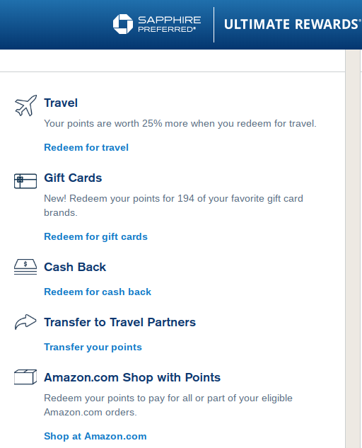 The infamous rewards portal for the Chase Sapphire Preferred card.