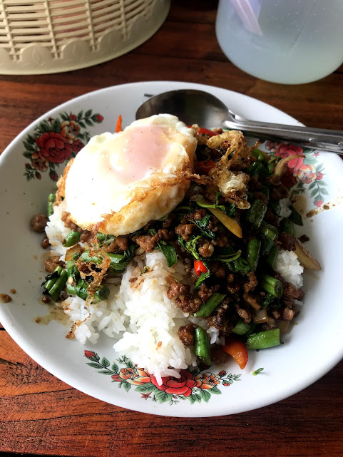 Pad Krapow featuring a perfectly fried egg.