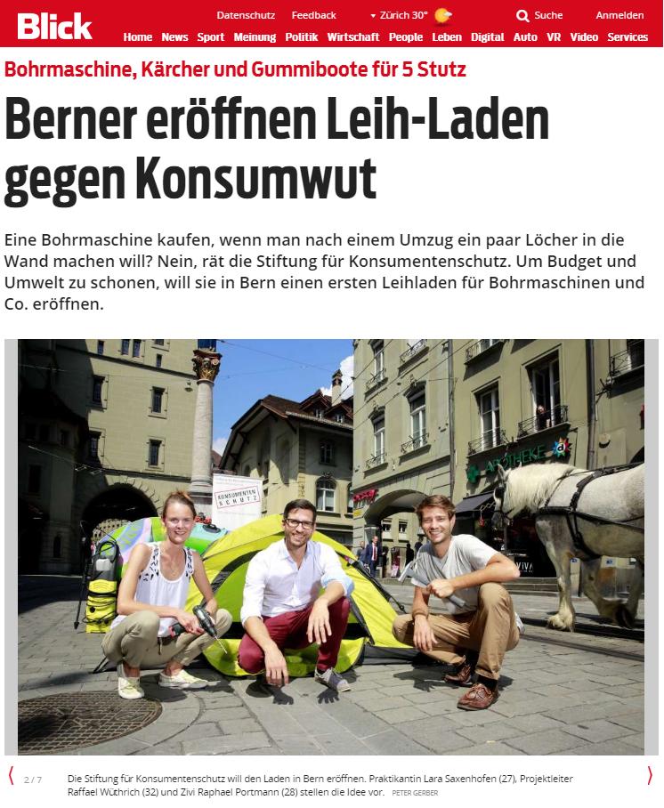 BLICK: Berner eröffnen Leih-Laden gegen Konsumwut - Eine Bohrmaschine kaufen, wenn man nach einem Umzug ein paar Löcher in die Wand machen will? Nein, rät die Stiftung für Konsumentenschutz. Um Budget und Umwelt zu schonen, will sie in Bern einen ersten Leihladen für Bohrmaschinen und Co. eröffnen.