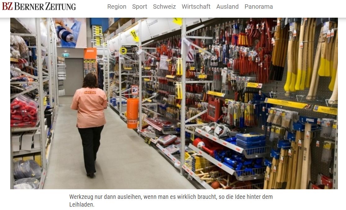 Berner Zeitung: Bern erhält den ersten Leihladen der Schweiz - Die Stiftung für Konsumentenschutz will in Bern einen Leihladen lancieren: Für eine Grundpauschale von fünf Franken pro Monat können dort beliebig Gegenstände ausgeliehen werden.