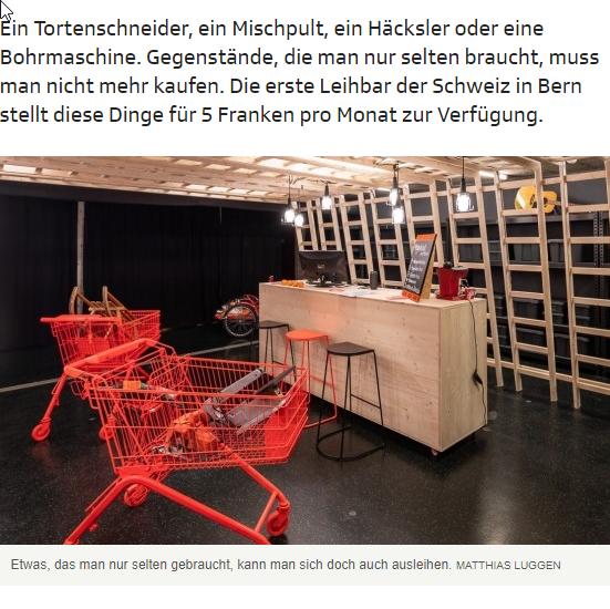 SRF Musikwelle: Die LeihBar - Die Bibliothek der Gegenstände - Ein Tortenschneider, ein Mischpult, ein Häcksler oder eine Bohrmaschine. Gegenstände, die man nur selten braucht, muss man nicht mehr kaufen. Die erste Leihbar der Schweiz in Bern stellt diese Dinge für 5 Franken pro Monat zur Verfügung.