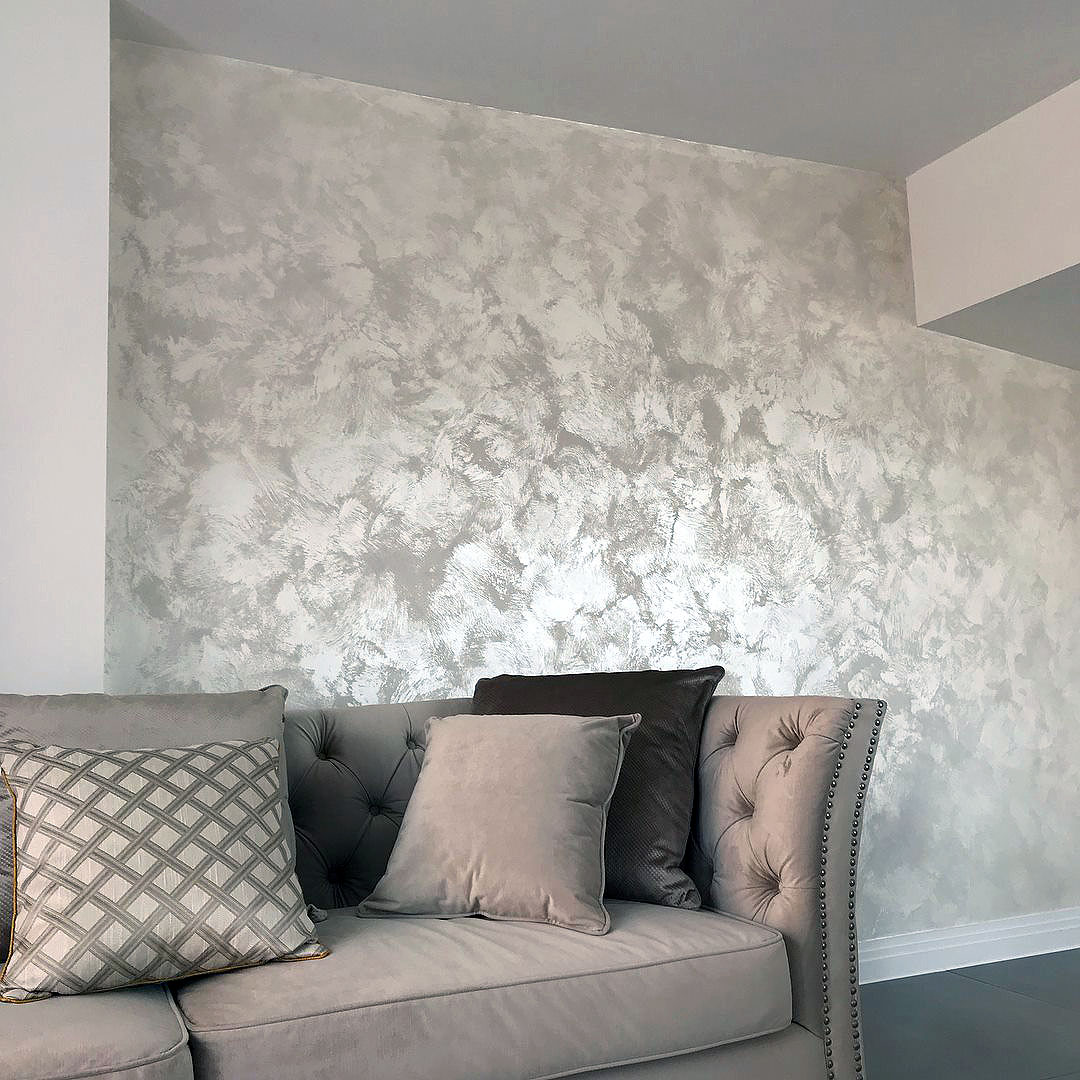 pearl bianco white suede bespoike wall finish