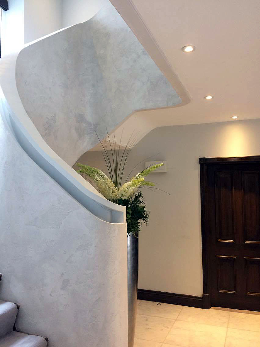 bespoke travertino polished plaster renovated stairs modern look unique fabulous finishes uk tammara mattingly