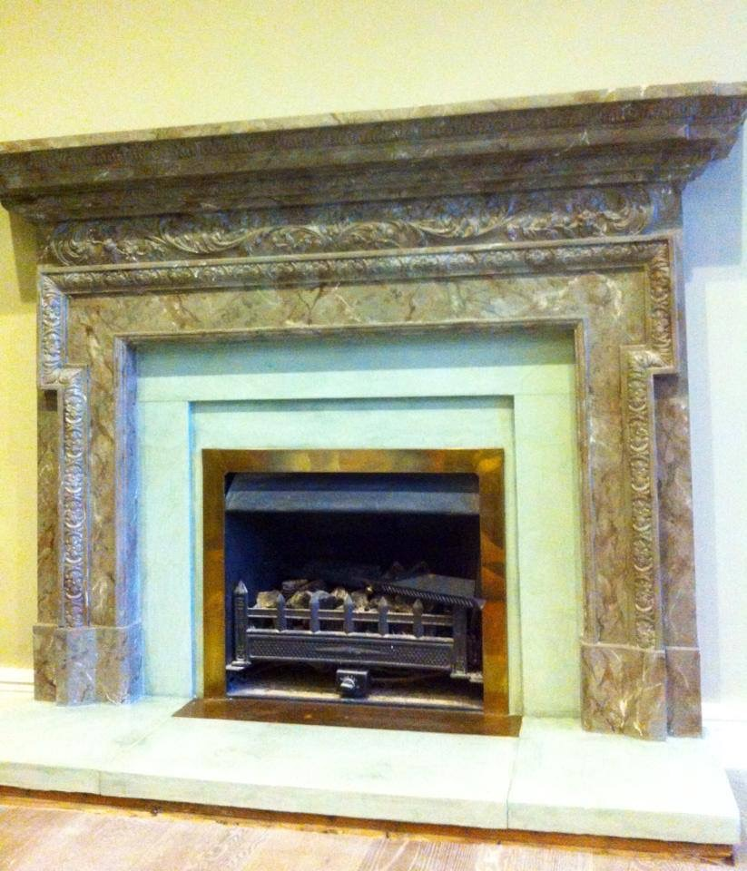 green slate faux painted fireplace renovation