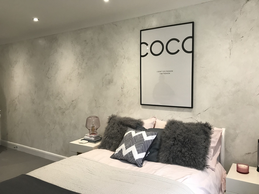 feature wall faux marble carrara bespoke bedroom