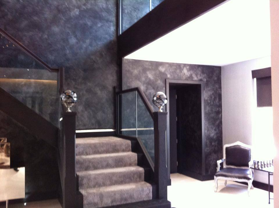 bespoke feature wall finish textured black grey metallic italian stucco polished plaster north london fabulous finishes uk 7.jpg