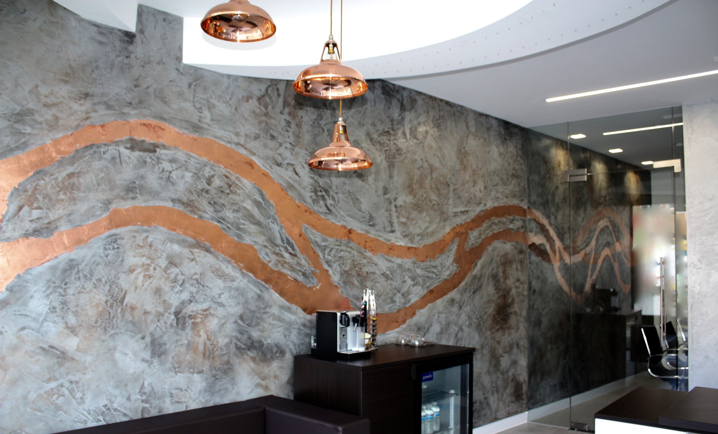 bespoke custom copper texture polished plaster grey silver feature wall commercial interior design  north london fabulous finishes uk 5.jpg