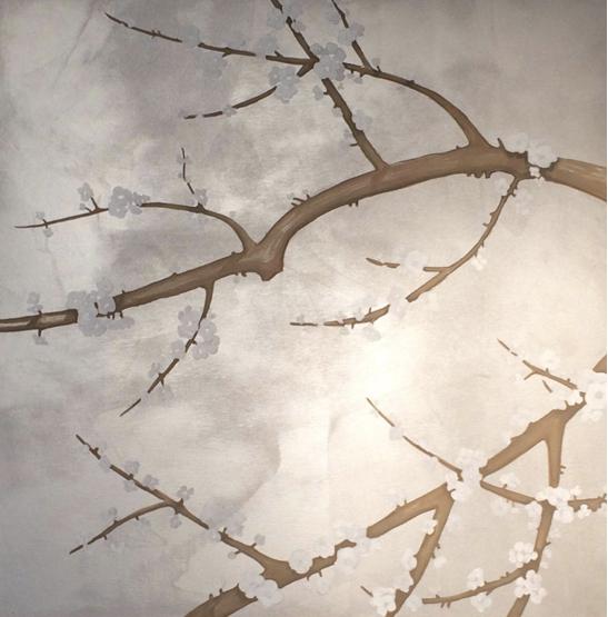 bespoke hand painted walls oriental cherry blossoms silkchic  silkchic distressed silk wall finish fabulous finishes uk silver grey