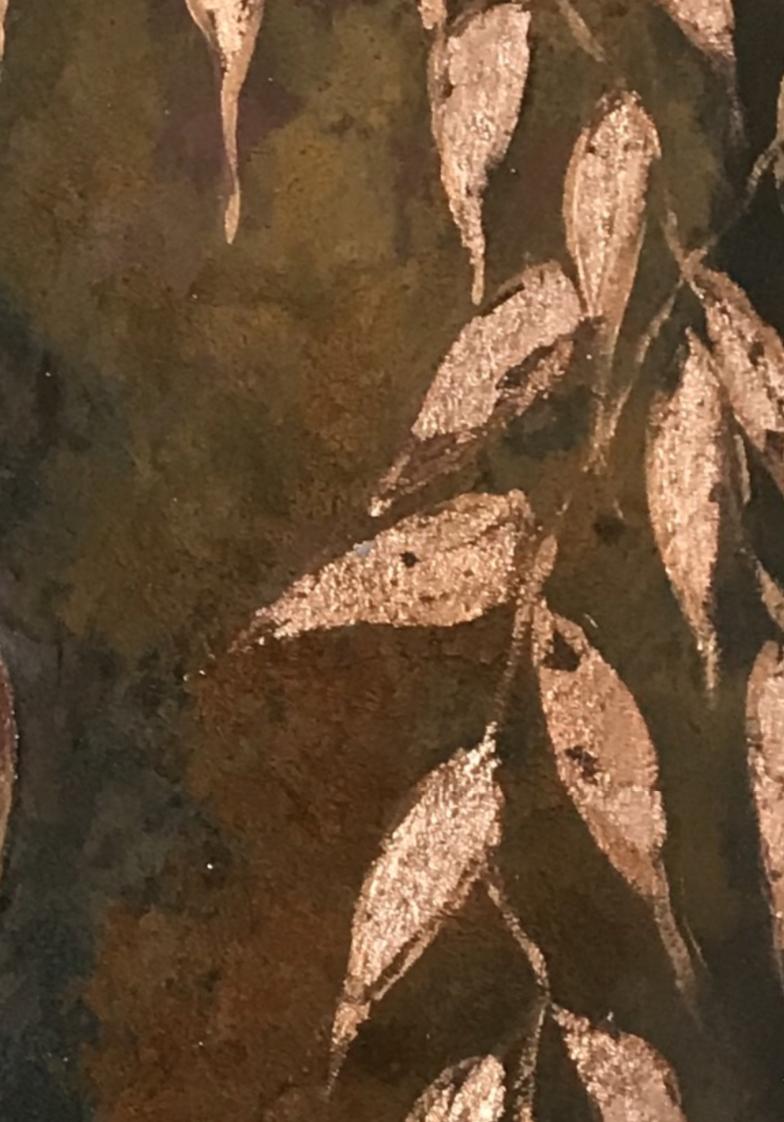 rust finish bespoke copper leaf feature