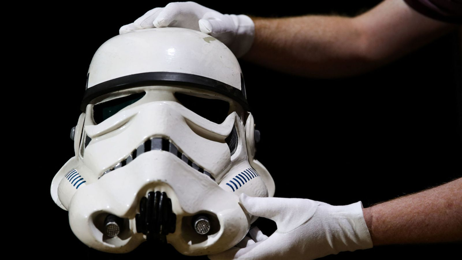 A screen matched Tantive IV Stormtrooper helmet from 1977 film Star Wars: A New Hope