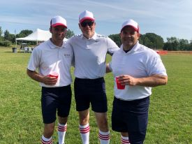 7. (9) Coach, Coach, CoachEric Hinka, Mike Jenkins, and Bob guttovz - A solid effort by the coaches, especially in the uniform department. Their WB game isn't bad either, despite starting slow going 0-3 in pool. Once they figured things out, they rallied for three straight wins to claim the 2019 B Flight Championship.