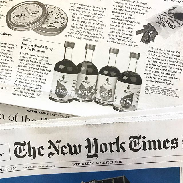 Cheers to an amazing @nytimes placement for PMG client partner @newleaftreesyrups!