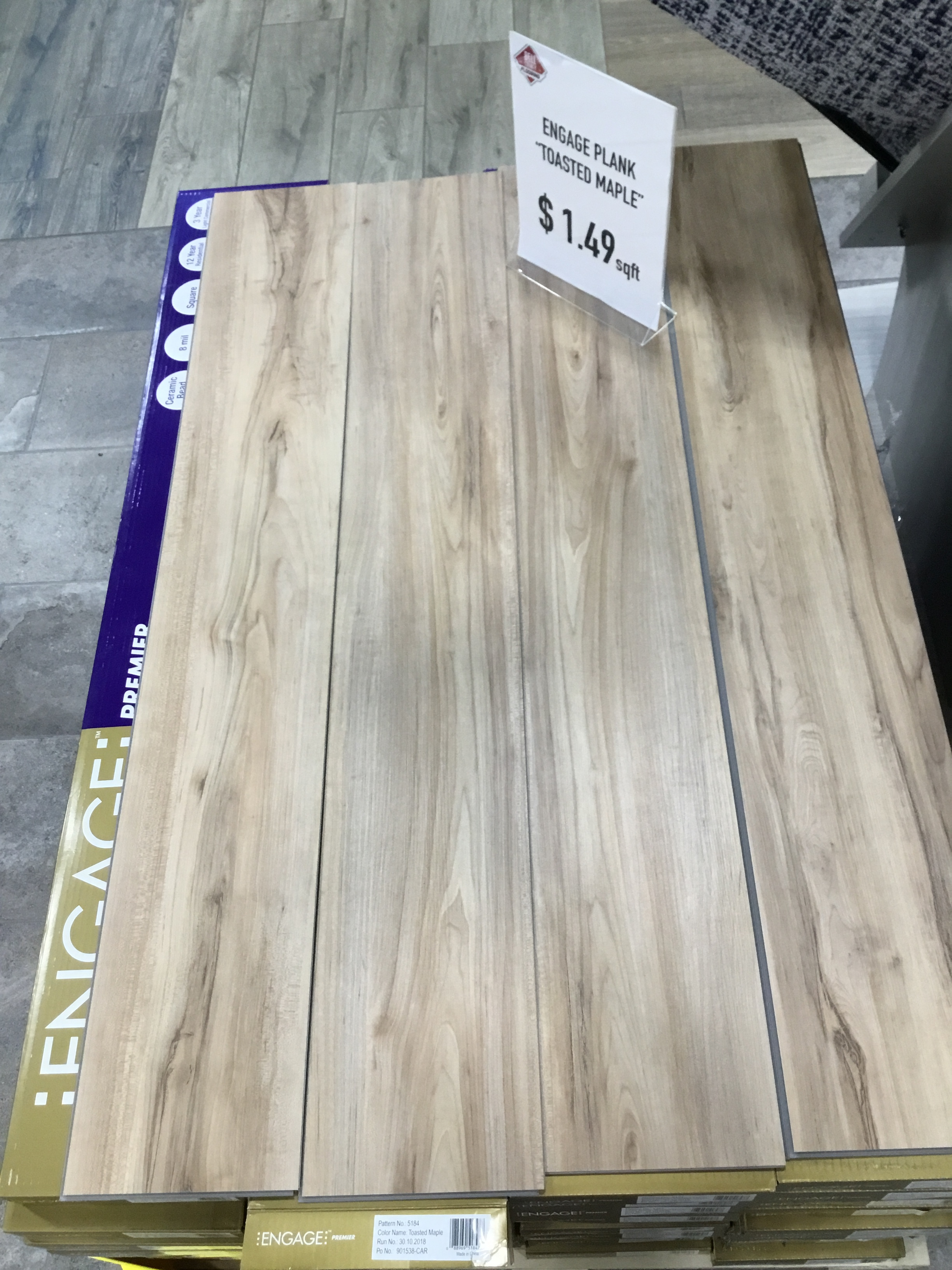 "Engage Floating Plank-SALE! - Color: Toasted MapleMeasurements: 7.5""x48""Cost: $1.49/sqft"