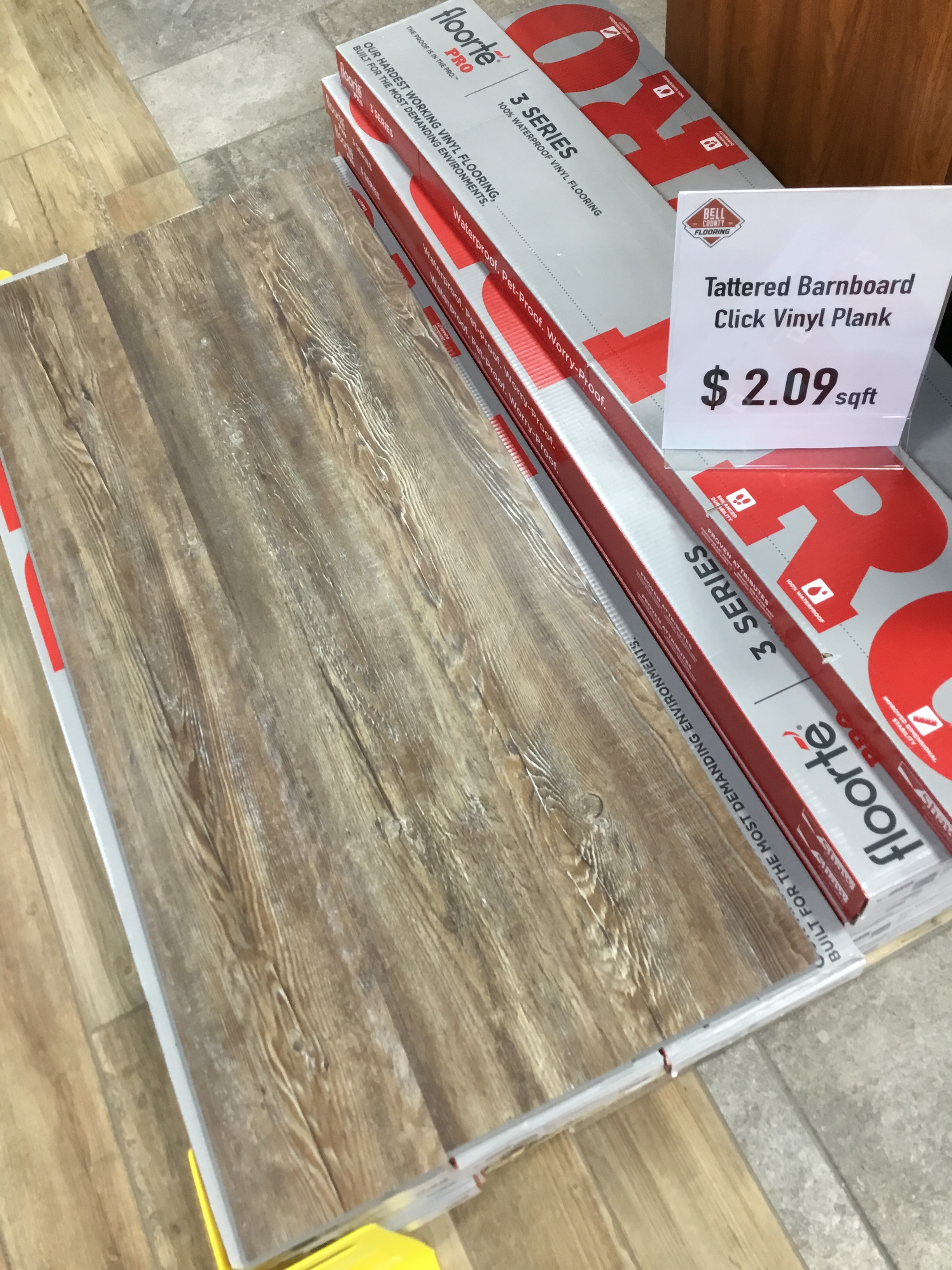 "Shaw Click Vinyl Plank-SALE! - Color: BarnboardMeasurements: 7""x48""Cost: $2.09/sqft"