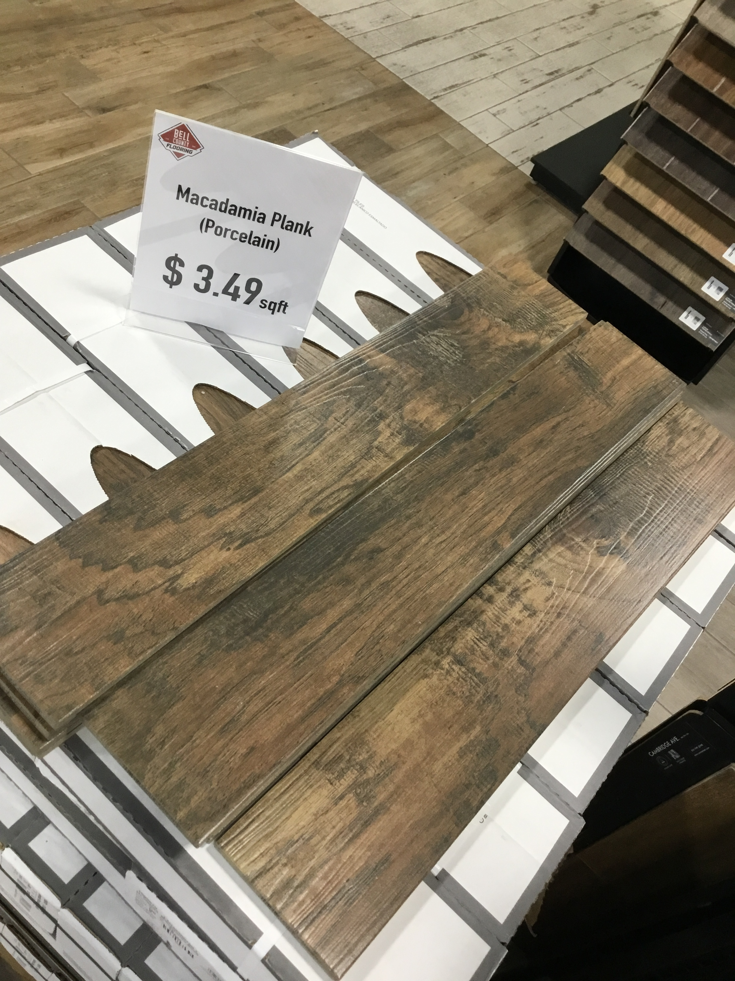 "Porcelain Wood-Look Tile-SALE!! - Color: MacadamiaMeasurements: 6""x36""Cost: $3.49/sqft"