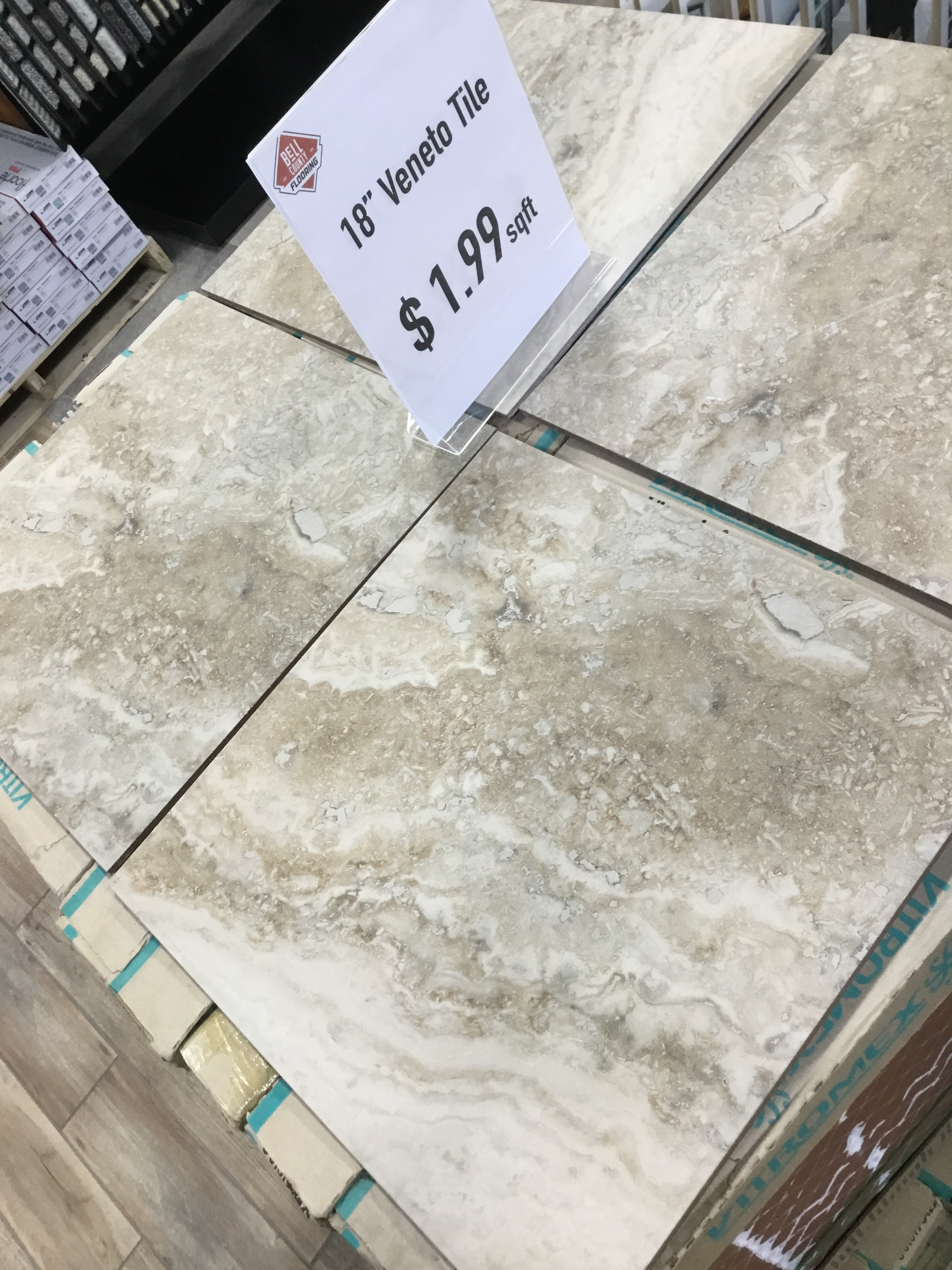 "Veneto Tile-SALE!! - Color: VariationMeasurements: 18""x18""Cost: $1.99 per sqft"