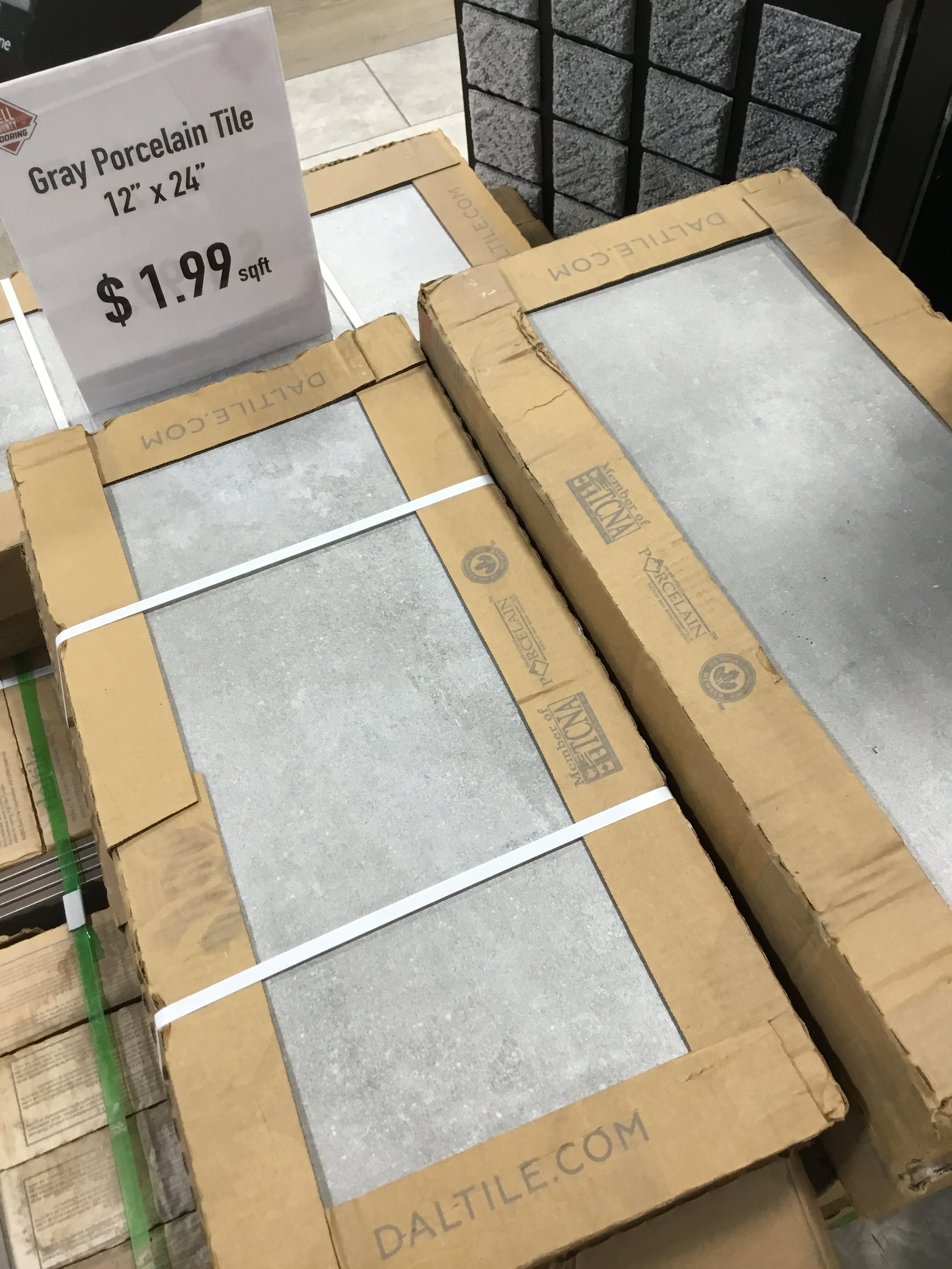 "Porcelain Tile-SALE!! - Color: GrayMeasurements: 12""x24""Cost: $1.99/sqft"