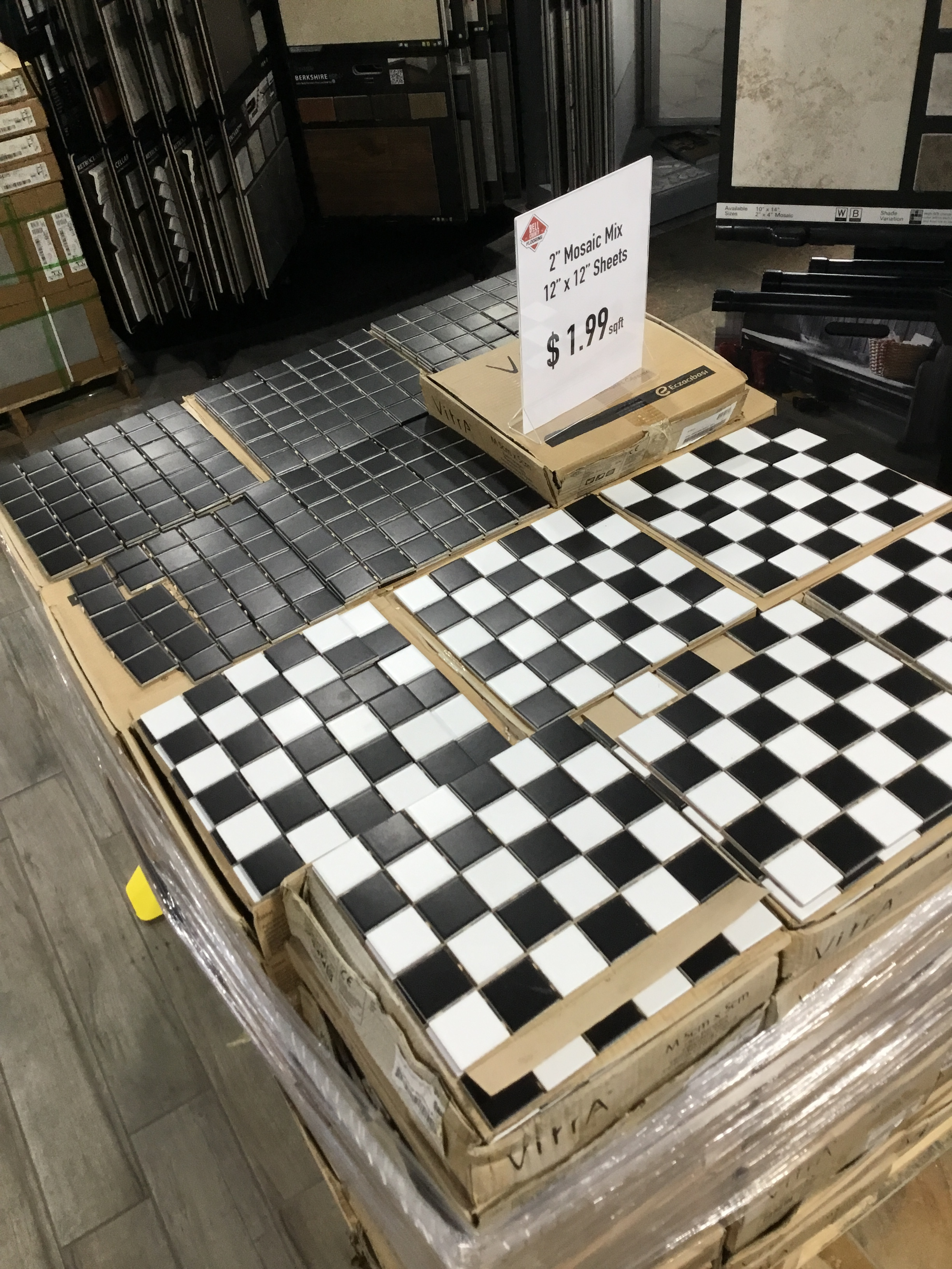 "Mosaic Tile-SALE!! - Colors: All black or black and white patternMeasurements: 2"" on 12""x12"" sheetsCost: $ .50 cents/sqft"