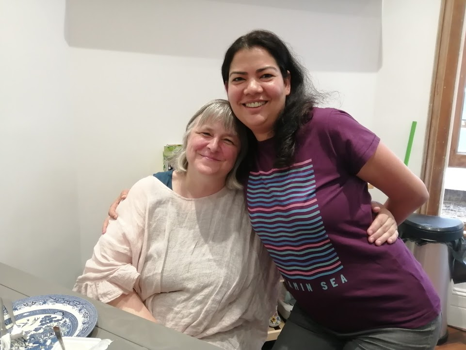 After the workshop - with Sarah Peyton (who travels everywhere, it seems).